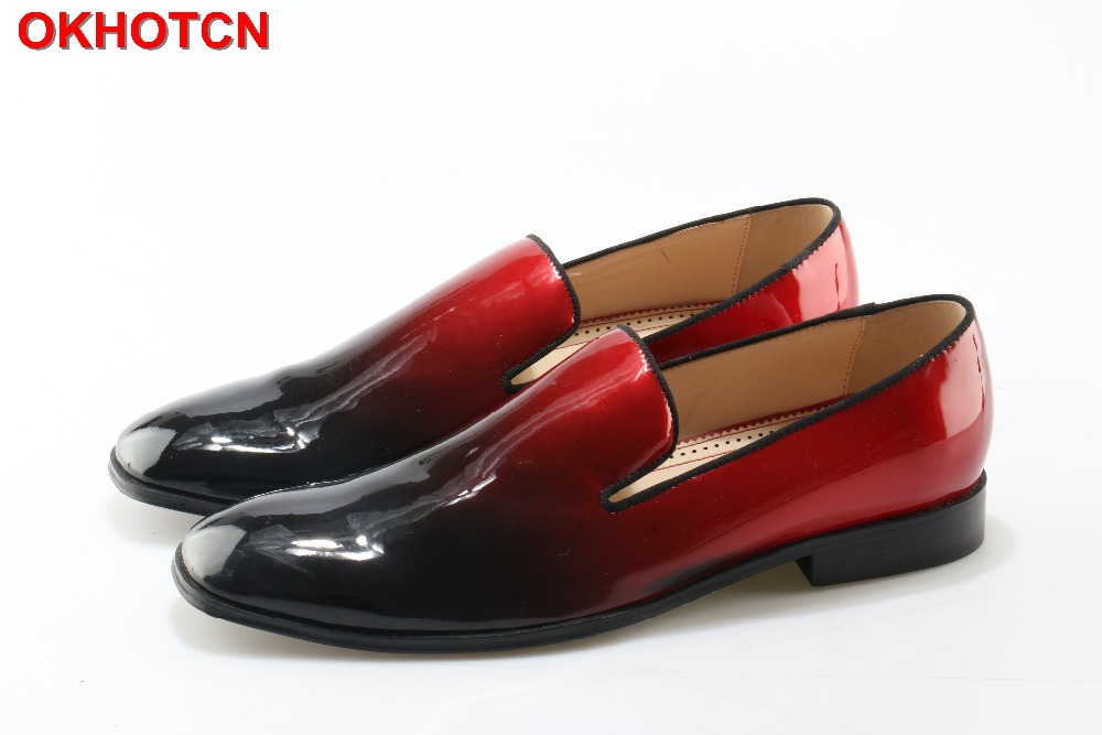 OKHOTCN Patent Leather Creepers Flats Good Quality Men Shoes Hot Sale Zapatos Mujer Red Black Mens Shoes Dress Loafers ShoesOKHOTCN Patent Leather Creepers Flats Good Quality Men Shoes Hot Sale Zapatos Mujer Red Black Mens Shoes Dress Loafers Shoes