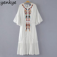 Vintage Women Tulle Floral Embroidery Dress 2 Pieces O Neck Flare Sleeve Elastic Waist Pleated Party Casual Dresses TL7997