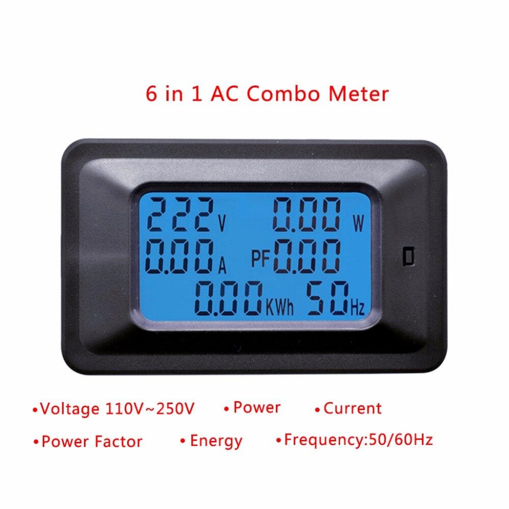 20A/100A Painel Digital AC LCD Voltímetro Amperímetro Medidor De Energia Watt KWh Monitor de Tensão Tester Tools