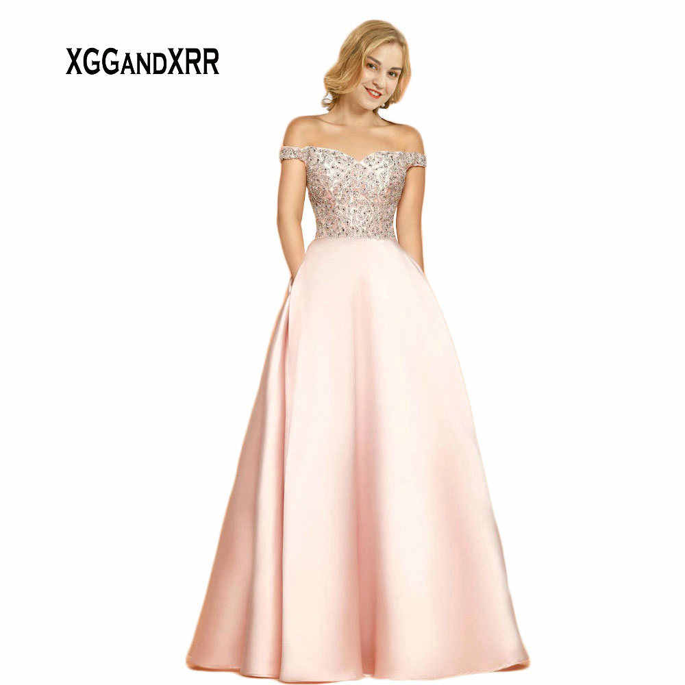 531c46df87a7 Detail Feedback Questions about Hot Sale Pink Long Satin Prom Dress 2019  Floor Length Sweetheart Off Shoulder Sexy Zipper Back Beading Evening Dress  Party ...