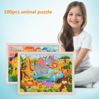 100 Pieces Wooden Puzzle Kids Toy Puzzle Games Animal Pattern Kid Gift