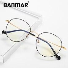 BANMAR Fashion Blue Light Glasses Retro Metal Frame Anti Ray Computer Vintage Designer Round Eyewear