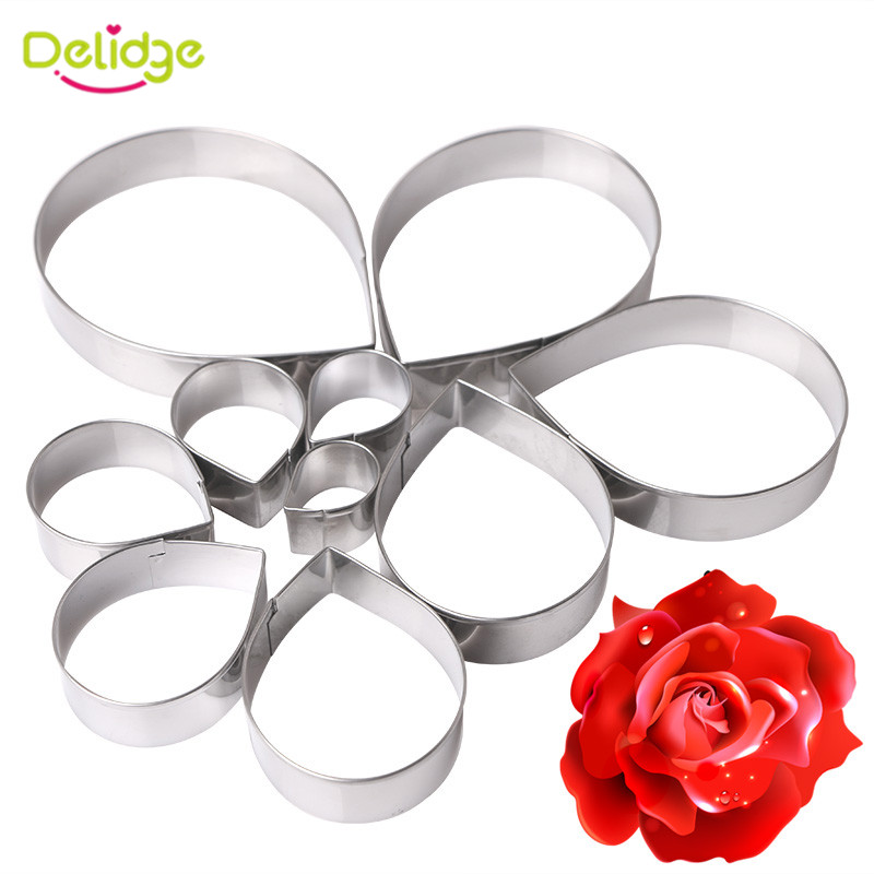Delidge 10pcs/set Rose <font><b>Flower</b></font> Cookie <font><b>Cutter</b></font> Mold 3D Fondant Pastry Biscuit Fondant <font><b>Cake</b></font> Baking Mold DIY <font><b>Cake</b></font> <font><b>Decorating</b></font> <font><b>Tools</b></font> image