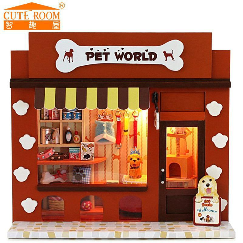Home Decoration Crafts Diy Doll House Wooden Doll Houses Miniature Diy Dollhouse Furniture Kit Room Gift Pet Shop C 008