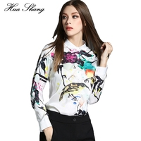 Huashang Women Summer Tops Long Sleeve Vintage Floral Birds Print Chiffon Shirt Korean Ladies Office Shirts White Blusas