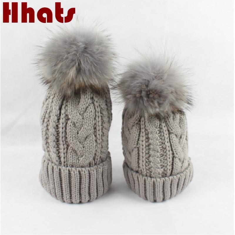 Double Layer Fleece Inside Winter Hat With Real Fur Pompom Plus Velvet Fur Pom Pom Knitted Hat Cap Women Girl   Skullies     Beanies