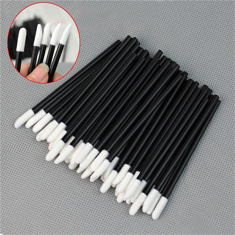 50pcs/100pcs Disposable Make Up Cotton Swab Lip Brushes Maquillage Lipstick Brush Gloss Cleaning Cosmetic Makeup Applicators