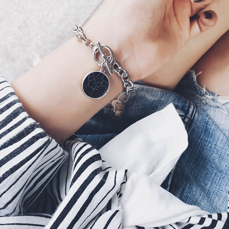 RE Buckle bracelet women faux marble geometric silver chain bracelets bangles pulseira fashion jewelry bijoux 2019 D30 in Charm Bracelets from Jewelry Accessories