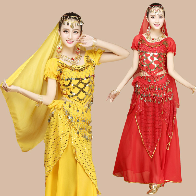 Wholesale Belly Dance Costumes Set Indian Dance Costumes Dress New Short Sleeve Chiffon Dancing Practice Performance Girls Wear