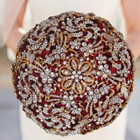 Ramo De Novia New Luxury Crystal Artificial Bouquet Bride Full Diamond Crystal Wedding Flowers Bridal Douquets W888G 1