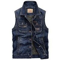 Sleeveless Jean Jacket Men Brand Clothing Casual Multi Pocket Men Vests High Quality Turn Down Collar