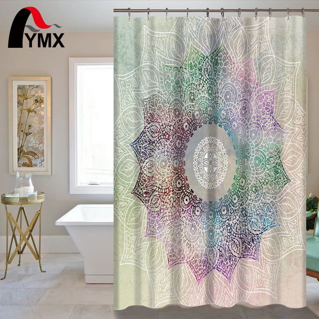 Indian Mandala Shower Curtain Lotus Printed Bohemian Waterproof Bathroom Accessories Curtains Polyester Fabric Wholesale