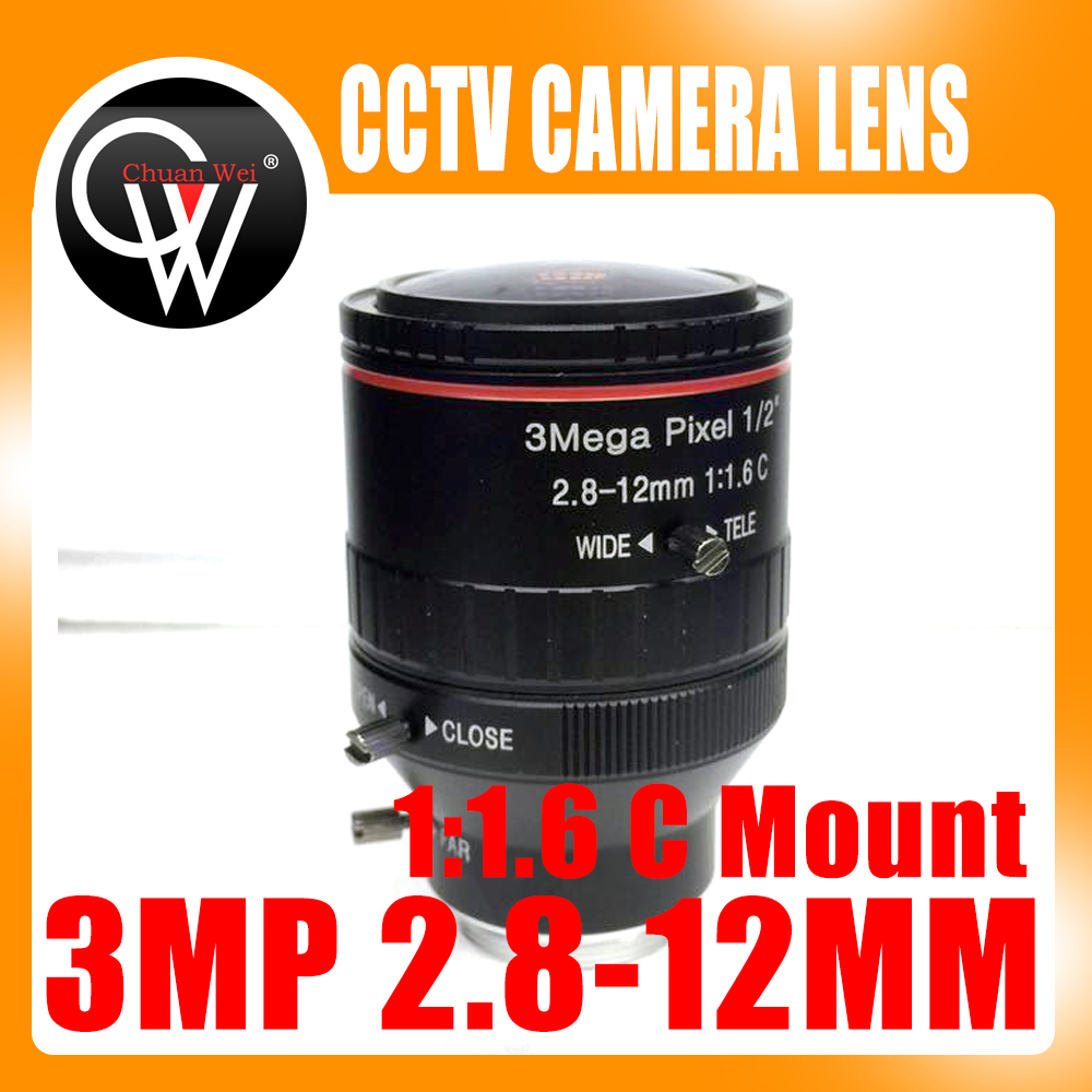 New 3.0 Mega Pixel Varifocal CCTV C Lens 2.8-12mm with 1/2 1:1.6 C Mount Lens for HD IP Camera Free Shipping wholesale cctv lens 12mm 26 2 degrees 1 2 5 3mp f1 4 fixed cs mount mega lens 1080p hd cctv lens for cctv camera