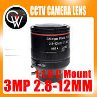 New 3.0 Mega Pixel Varifocal CCTV C Lens 2.8-12mm with 1/2 1:1.6 C Mount Lens for HD IP Camera Free Shipping