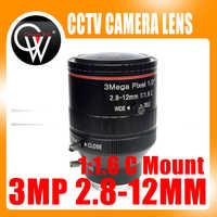 New 3.0 Mega Pixel Varifocal CCTV C Lens 2.8-12mm with 1/2 1:1.6 C Mount Lens for HD IP Camera Free Shipping