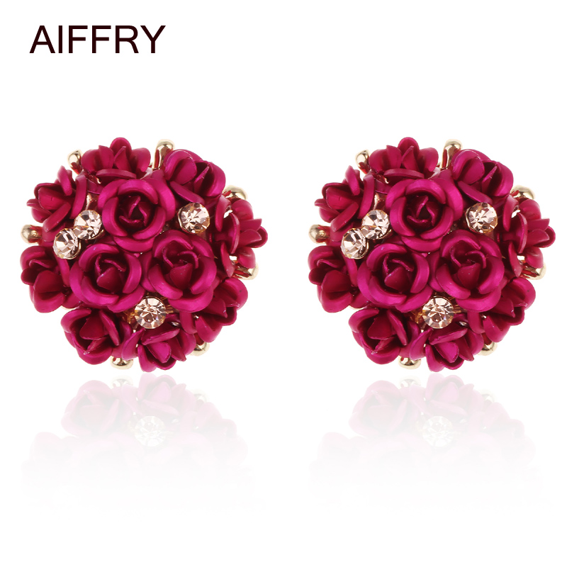 AIFFRY Earrings Candy Colors Rose Stud Earrings 2016 New Brincos Earrings For Women Jewelry E2287