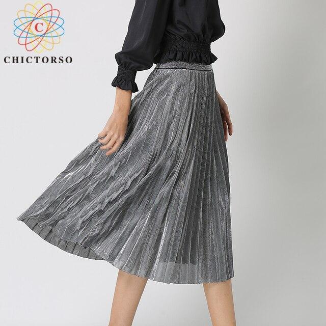 1186f6895 Chictorso Fashion Sexy High Waist Pleated Skirt Women Vintage Bling Gold  Metallic Midi Skirt Girls Korean Long Summer Skirts New