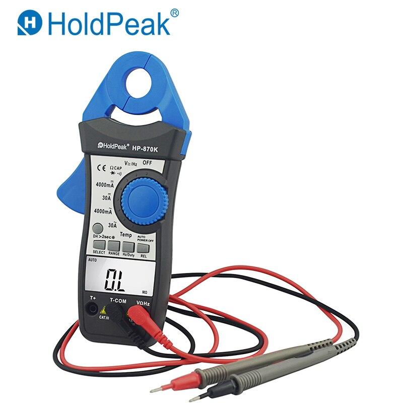 HoldPeak HP-870K 4000 Auto Faixa Digital Clamp Meter AC DC Multímetro True RMS Frequência Backlight Data Hold Função de Teste De Diodo