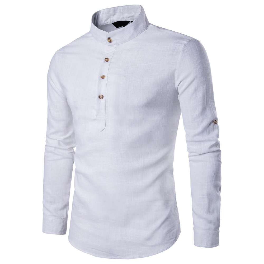 New 2018 Spring Summer Linen Cotton Blended Shirt Men Stand Collar