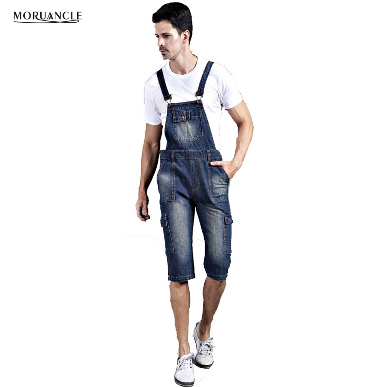 MORUANCLE 2017 Mens Short Denim Overalls Jeans Male Loose Denim Jumpsuit Baggy Capris Suspenders Denim Bib Plus Size M-8XL 2014 new fashion men nostalgic vintage light color jeans wash capris pants loose plus size overalls zipper denim jumpsuit