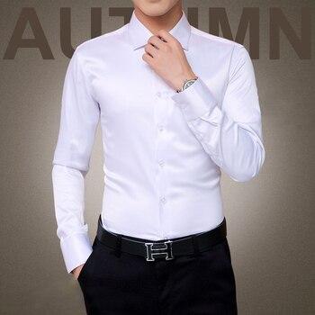 Plus Size 5XL 2016 New Men's Luxury Shirts Wedding Party Dress Long Sleeve Shirt Silk Tuxedo Shirt Men Mercerized Cotton Shirt
