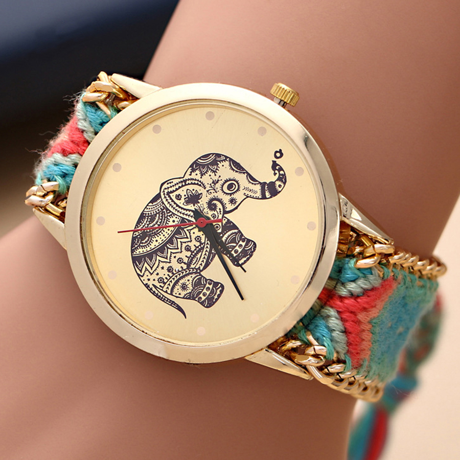 2015 New watches women luxury brand Handmade Braided Elephant Friendship Bracelet GENEVA Watch Ladies Quartz Wristwatches - Mia shop store