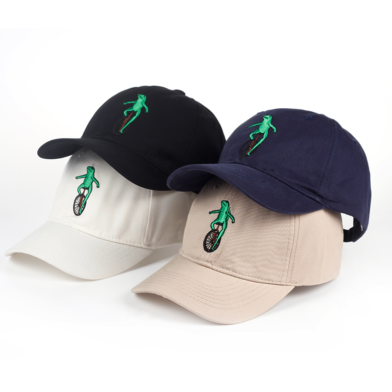 New Embroidery Wheelbarrow Frog Dad Snapback Baseball Cap Curved Bill Green Frog Pepe Fitted Hats Meme Frog Visor Hat Gorras 2017 new men women good vibes dad hat embroidered baseball cap curved bill 100