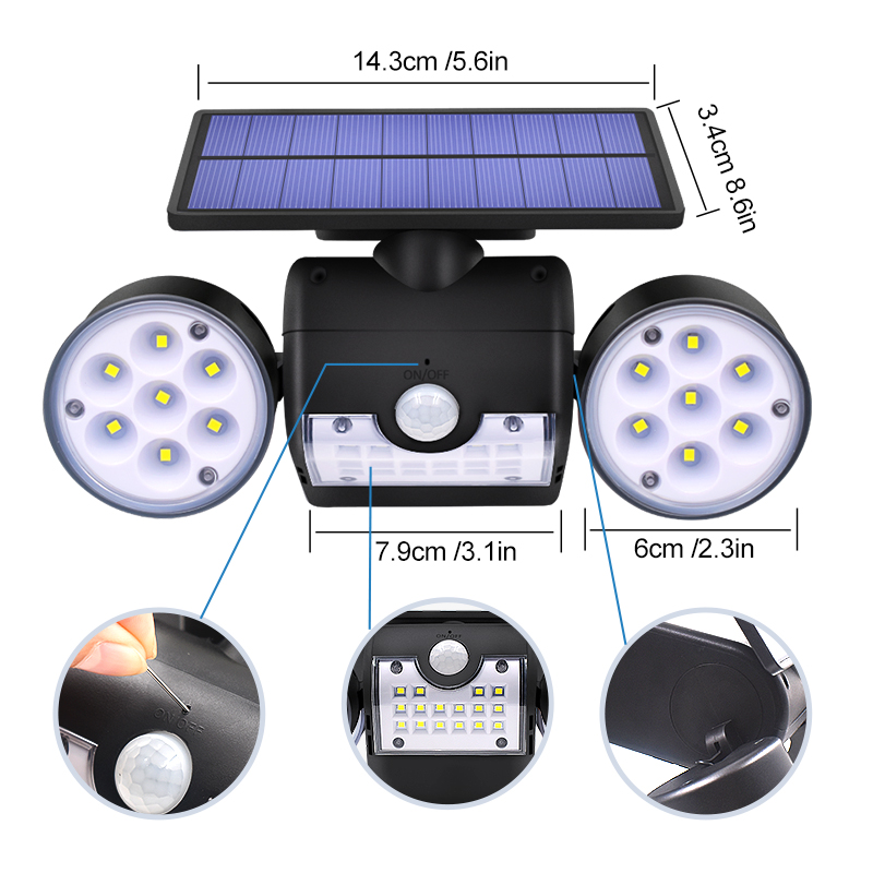 Image 4 - Newest Double Head Solar Lamp Outdoor Waterproof Garden Wall Solar Light With 30 leds Adjustable Angle Security Lighting 500lm-in Solar Lamps from Lights & Lighting