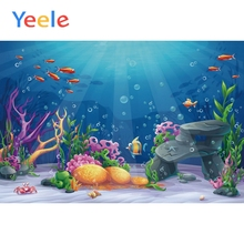 Yeele Underwater World Coral Fish Props Pet Doll Scene Baby Background Photography Banner Photographic Backdrop For Photo Studio