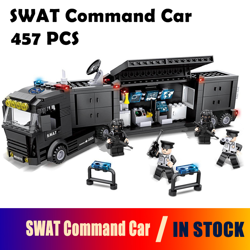 Model building blocks Police station SWAT Command Car soldiers Military Series 3D compatible with lego city Boy Toy hobbies Gift