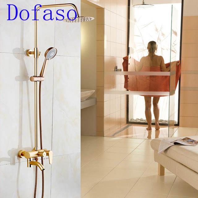 Dofaso Retro Gold Dusche Bad Wasserhahn Set Besten Preis Antiken Dusche Set 8 Zoll Mit Dusche Turm 3 Griff Dusche Armaturen