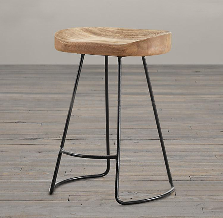 цена American style country solid wood bar stool high bar stool wood iron bar stool coffee chair онлайн в 2017 году