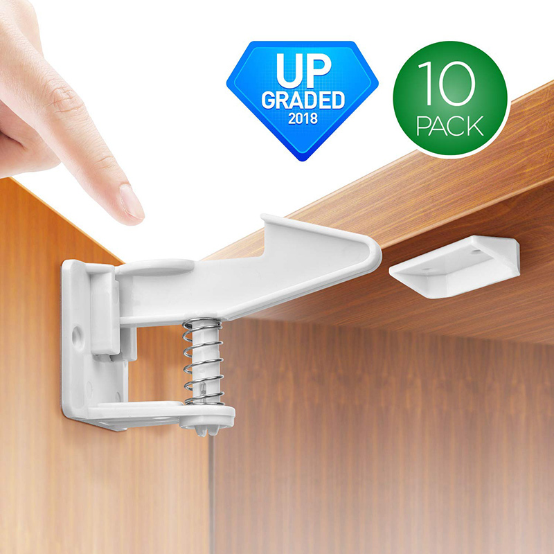 10pcs Child Safety Cabinet Locks Baby Proofing Cabinets Lock Drawers Latch With Adhesive @ZJF