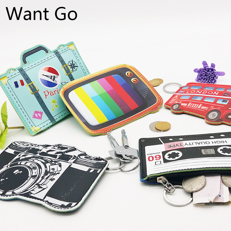 Want Go New Design Coin Purses Kids Leather Coin Bag Zipper Children Mini Wallets Small Purse Kawaii Girl Storage Key Chain Bag