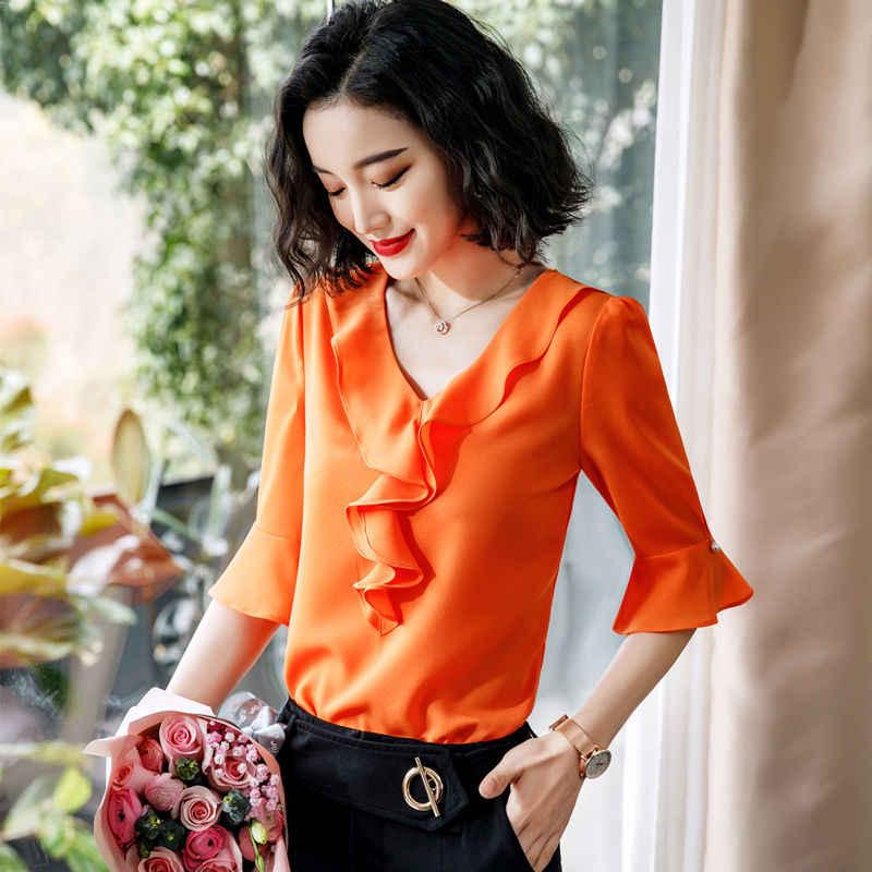 Dushicolorful yaz kısa kollu şifon bluzlar kadın 2019 ofis bayan gömlek artı boyutu orange kırmızı Fırfır bayanlar tops blusas