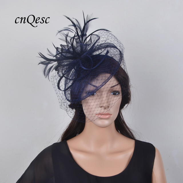 Wholesale NEW DARK Navy blue Veil Fascinator Royal Wedding hat with sinamay  and feathers for wedding 8c19831fa12