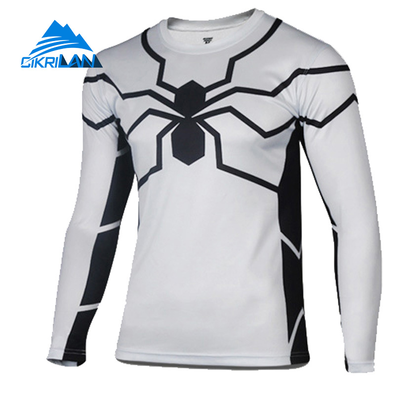 Cikrilan Super Hero Long Sleeve Bicycle Tee Shirts Base Layer Quick Dry T-shirt Men Sportswear Fitness Bodybuilding Tshirt Homme