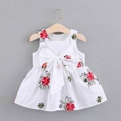 Платье для маленьких девочек платья принцессы без рукавов для новорожденных милое розовое хлопковое праздничное платье с вышивкой и больш...