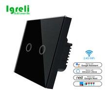 Igreli Wi Fi Smart стены сенсорный выключатель света 220 в беспроводной приложение дистанционное управление работает с Amazon Alexa и Google дома