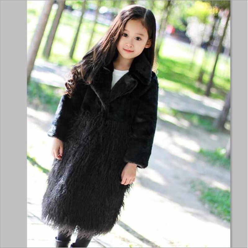 2018 סתיו וחורף חדש בגדי ילדים בנות פו פרווה מעיל ארוך ילד מעיל רוח קוריאנית להנמיך צווארון מעיל QV199