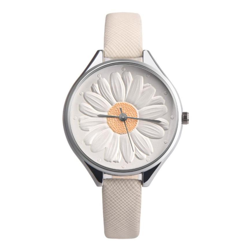 Kadın Ayçiçeği Retro Tasarım Deri Band Analog Alaşım Kuvars - Kadın Saatler - Fotoğraf 2