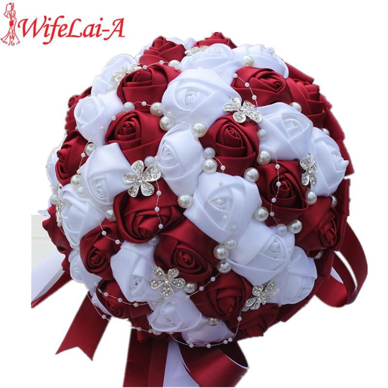 WifeLai A Ramos De Novia Burgundy Red White Crystal Bridal Bouquet Custom Artificial Flower Bridesmaid Wedding