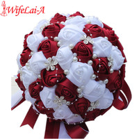 WifeLai-A Ramos De Novia Burgundy Red White Crystal Bridal Bouquet Custom Artificial Flower Bridesmaid Wedding Bouquet W224A-2