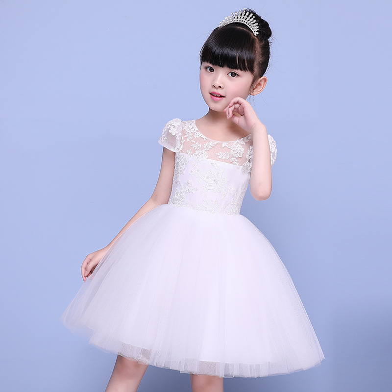 Hot Flower Girl Dress Ball Gown Short Sleeve Kids Pageant Dress Wedding Appliques Girls Party Dress Birthday Princess Dresses new flower girl dress white ball gown kids pageant dress wedding appliques girls party dress birthday princess dresses aa202