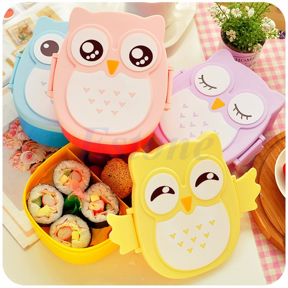 Food Container Portable Owl Plastic Cute Cartoon Lunch Bento Box Oven Heating For Kids(China (Mainland))