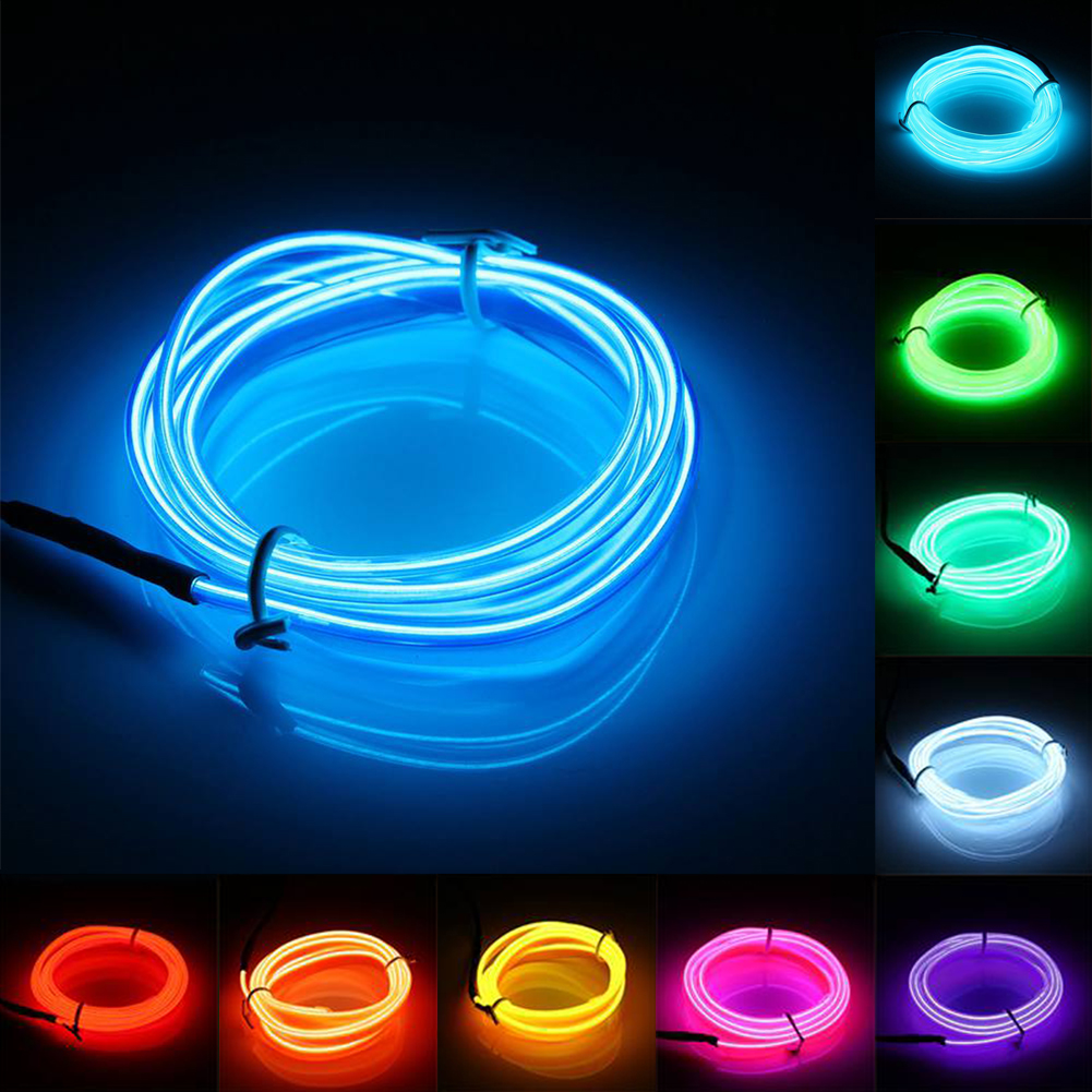 ae tsleen 2 3 5m glowing neon led lights el wire string strip rope tube car dance party. Black Bedroom Furniture Sets. Home Design Ideas