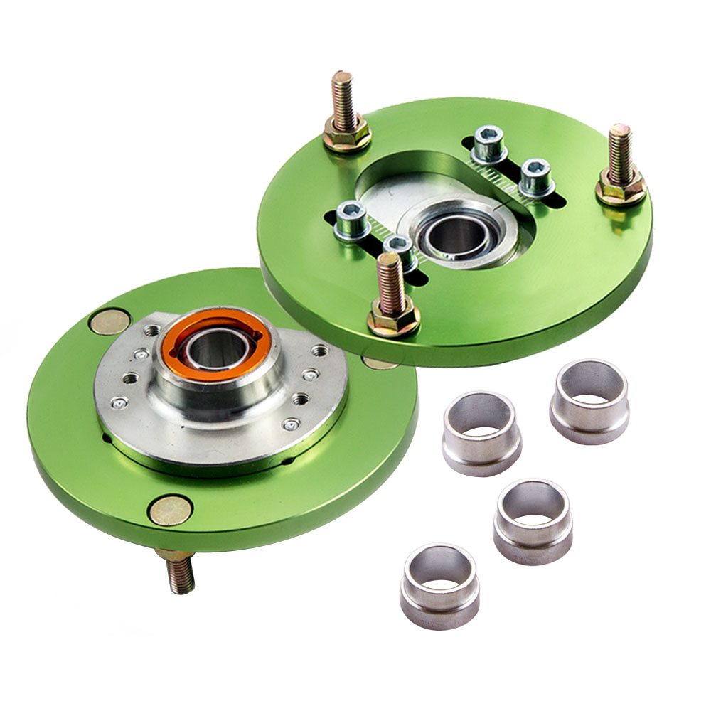 Camber Plate For BMW E46 3 Series 320 323 325 328 M3 1998-2005 Front Coilover Top Upper Mount Plates Hat Pillowball Pair Green camber plates for bmw 3 series e46 320 323 325 328 m3 316 1998 2005 top mounts golden plates pillow ball golden