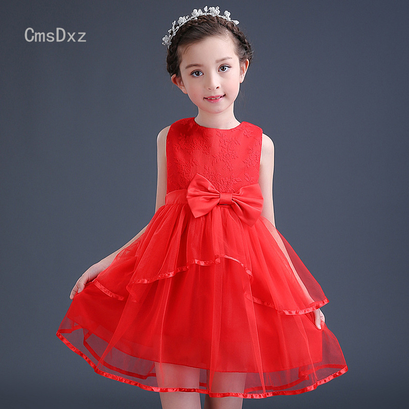 CmsDxz Bow Girls Dress For Girls Princess Birthday Party Dresses Kids Wedding Dress 2017 Cute Girl Summer Dress Children Clothes new fashion embroidery flower big girls princess dress summer kids dresses for wedding and party baby girl lace dress cute bow