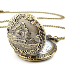 SmileOMG Unisex Antique Case Vintage Brass Rib Chain Quartz Pocket Watch Train ,Aug 18