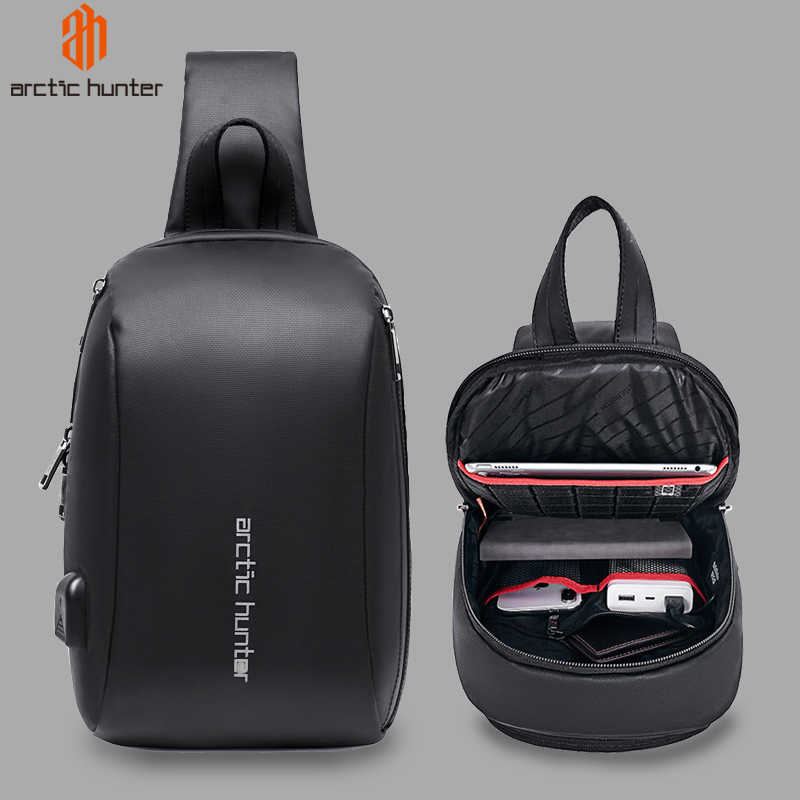"ARCTIC HUNTER 081 Men's Sling Shoulder Bag Waterproof USB Charge Crossbody Bags for Men Short Trip Messenger Bag Fit 9.7"" iPad"